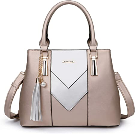 Pomelo Best Damen Handtasche Mehrfarbig gestreift V-förmiges Design (Champagner)
