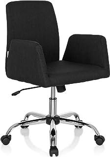 hjh OFFICE 723032 Silla giratoria Flow Tela Negro Acolchado cómodo reposabrazos Silla de diseño Elegante Living