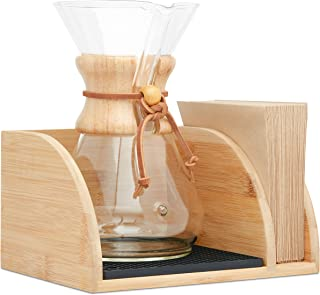 Mazonia Caddy for Chemex Coffeemaker – Luxurious Bamboo Wood Coffee Maker Tray With Filter Holder, Silicone Heat Pad & Black Dishwasher Safe Drying Mat – Decorative Pour Over Coffee Maker Stand