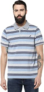 AMERICAN CREW Men's Polo Collar Half Sleeve Striped T Shirts for Men