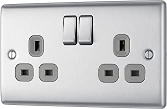 BG Electrical NBS22G 13amp Double Metal Brushed Steel Switched Power Socket - Grey Insert