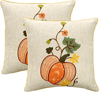 Grelucgo Embroidered Thanksgiving or Halloween Throw Pillow Case Cover, Decorative Fall Harvest Pumpkins Pillow Cover, Square 18x18 Inches, Set of 2