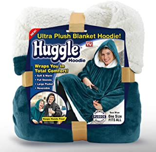 Ontel Huggle Ultra Plush Blanket Hoodie, Sea Blue