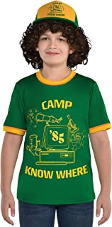 Stranger Things Dustin T-Shirt for Children, Features Ringer Styling and Camp Know Where