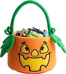 JOYIN Halloween Pumpkin Plush Bucket with Handle, Halloween Candy Basket for Trick or Treat, Halloween Candy Gift Bowl Holder for Halloween Party Favor Supplies