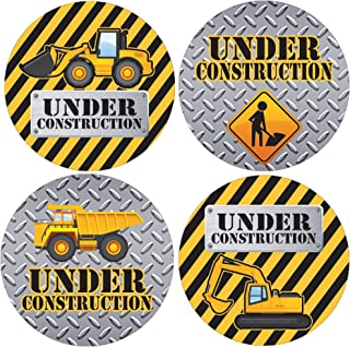 Under Construction Birthday Favor Stickers - 1.75 in - 40 Labels