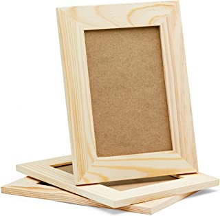 DIY Picture Frames, 4x6 Craft Frames Set, Unfinished Solid Pine Wood DIY Photo Frames, For Arts and Crafts DIY Painting Projects, Set of 3 (6x8 Frame Size Holds 6x4 Pictures) For Adults and Kids Craft