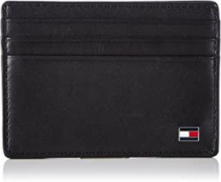 Tommy Hilfiger Men's Eton Leather Card Holder, Black, One