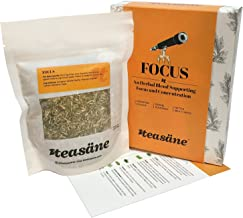 TEASÄNE Loose Leaf Herbal Tea, Focus (63 gm Box); Natural Pure Plant Extracts to Empower Brain and Enhance Concentration, Caffeine-Free