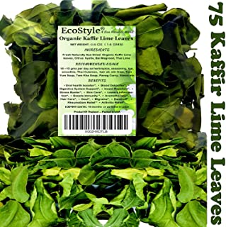 Organic Kaffir Lime Leaves   Thai Lime Leaves   Citrus Hystrix   Premium Quality   0.5 Ounce   Fresh Dried Whole Leaf   Bai Magrood   Rich Green Color   Tom Yum Soup   Extremely Flavorful   EcoStyle!