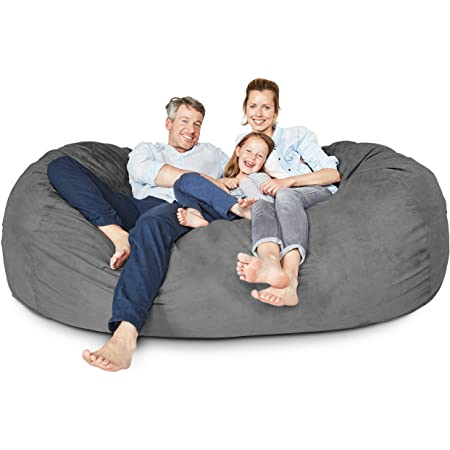 Lumaland Luxury Giant 7' Memory Foam Furniture Bean Bag - Soft, Washable Microsuede Cover - Jumbo Bean Bag Sofa Chair - XXL Sack Chair for Dorm, Family Room - Dark Grey