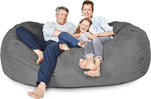 Lumaland Luxury 7 Foot Bean Bag Chair With Microsuede Cover Dark Grey Machine Washable Big Size Sofa And Giant Lounger Furniture For Kids Teens And Adults
