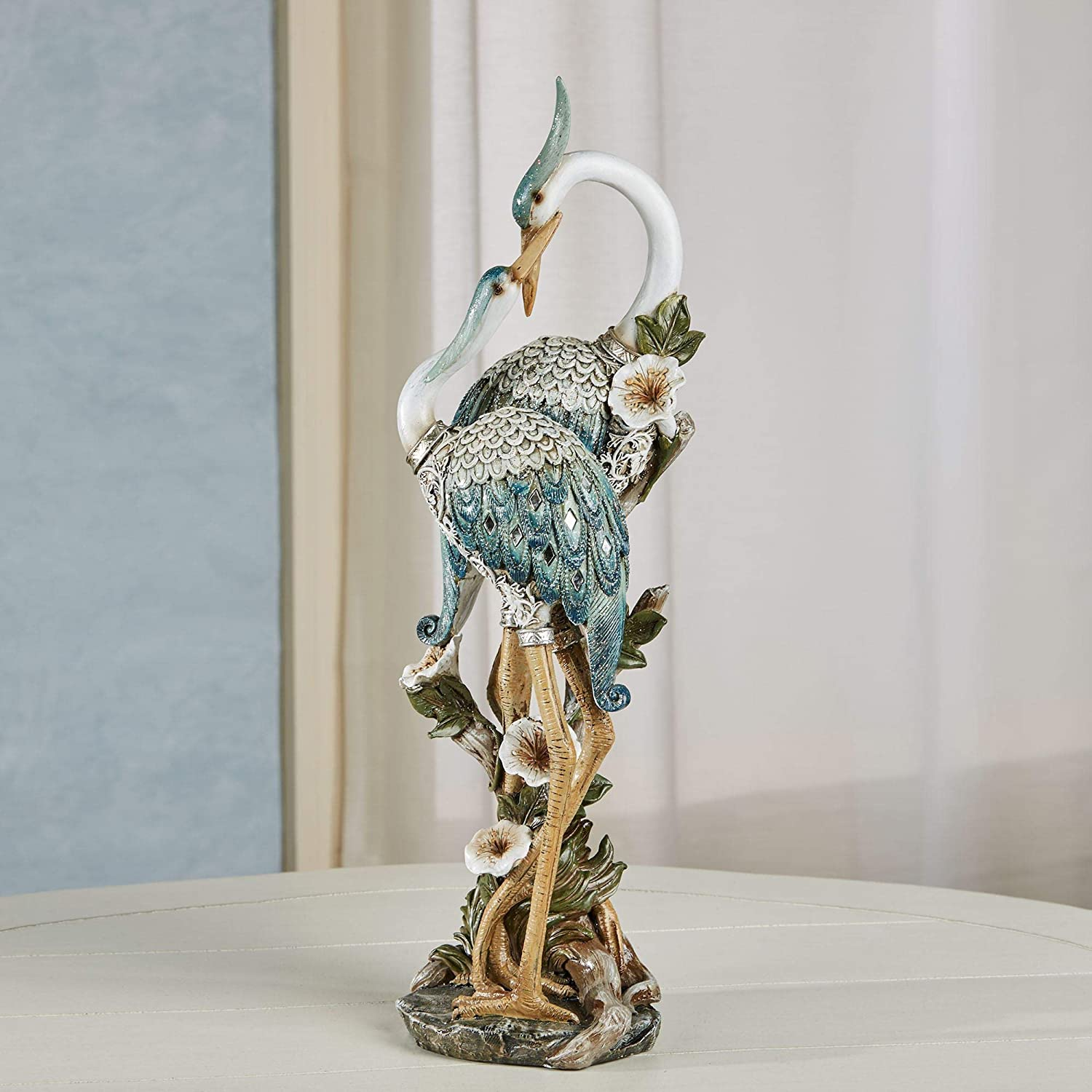 Devoted Cranes Table Sculpture Teal - Made of Resin Coastal Shorebirds - Diamond Mirror Insets, Glitter Accents - Flowers, Vining Leaves Base - Measures 5 Inches Wide, 16 Inches High