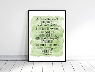 To live in this world you must be able to do three things Mary Oliver Quote Inspirational Wall Art Motivational Poster Dorm Room Decor Wood Pallet Design Wall Art Sign Plaque with Frame wooden sign