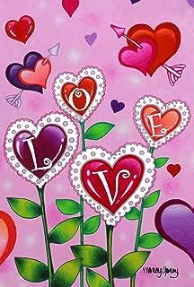 Toland Home Garden Love Garden 28 x 40 Inch Decorative Colorful Valentine Heart Flower Arrow House Flag