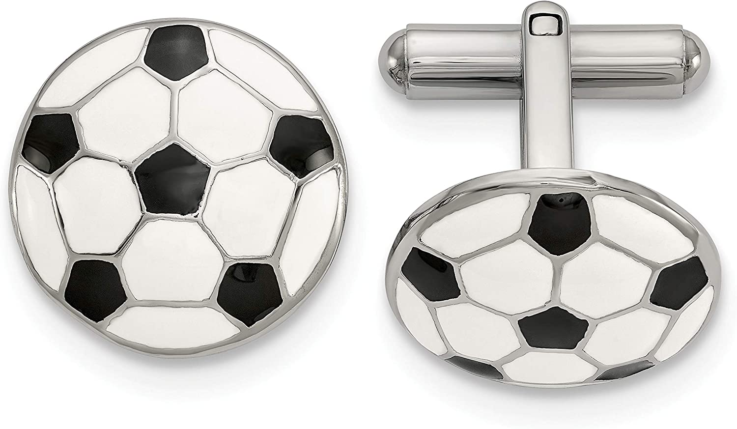 Stainless Steel Polished and Enameled Soccer Ball Cuff Links White Men's