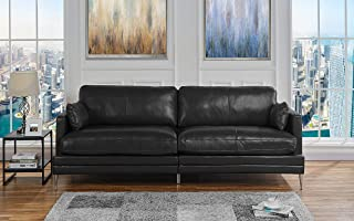 Black Leather Upholstered Sofa Couch | Modern Black Wide Top Grain Leather Couch Sofa w/ 2 Accent Pillows, Lounger Home Furniture Small/Large Sofas & Couches for Living/Theater Room Sofa Spaces, Black