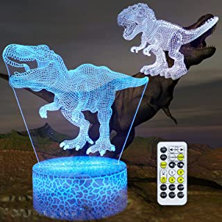 Dinosaur Toys 3D Illusion Night Light,2 Pieces with 16 Colors Changes Dinosaur Lamp Timing Remote Control T Rex Night Ligh...