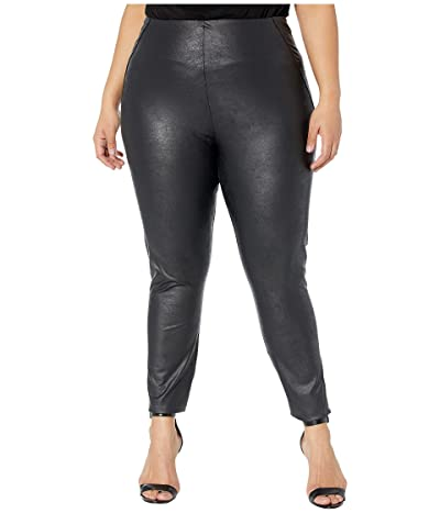 Lysse Plus Size Matilda Foil Vegan Leather Leggings (Black) Women
