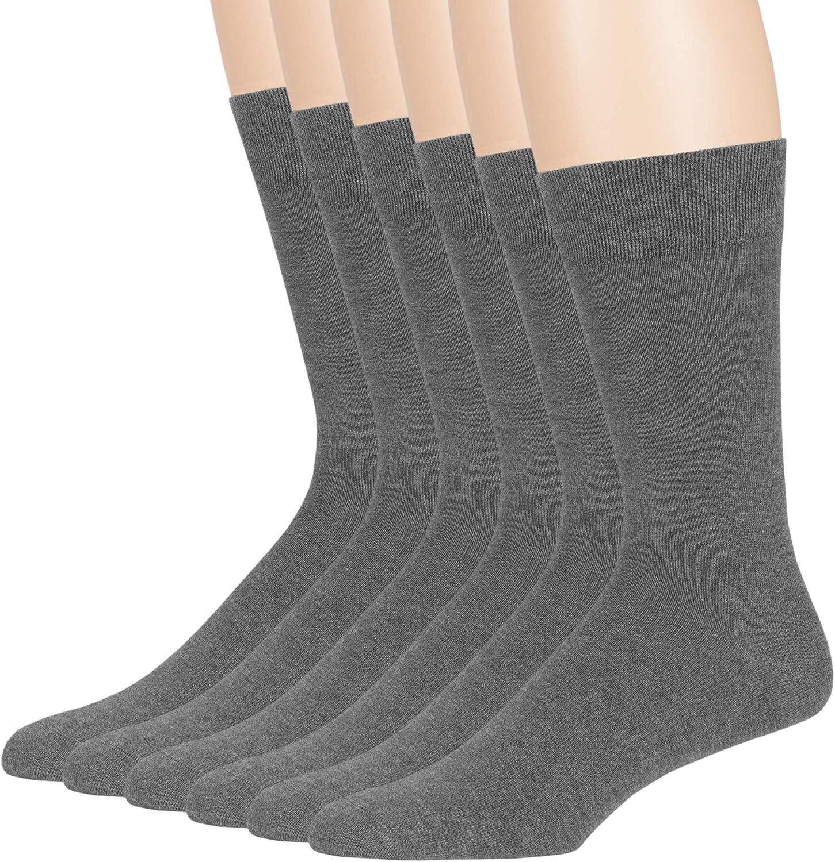 7BigStar Men Bamboo Dress Sock-6 Pack -XL/L-Denim Blue Charcoal Navy Burgundy Tan Brown Assorted