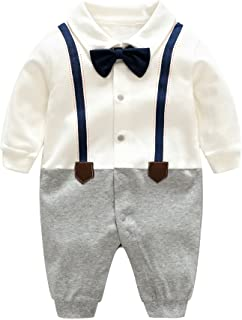 D.B.PRINCE Infant Newborn Baby Boys Gentleman Clothes Cotton Rompers Small Suit Bodysuit Outfit with Bow Tie