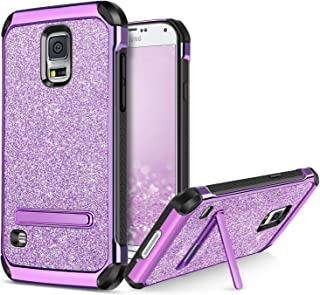 BENTOBEN Phone Case for Samsung Galaxy S5, Kickstand Protective Glitter Bling Cell Phone Cases 2 In 1 Hard PC Soft TPU Shockproof Cover with Luxury Sparkly Shiny Faux Leather for Girls, Women - Purple