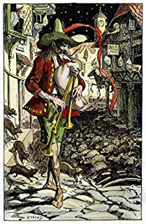 Pied Piper Illustration Nthe Pied Piper Leading The Rats Out Of Hamelin Illustration 1890 By HJ Ford Poster Print by (18 x...