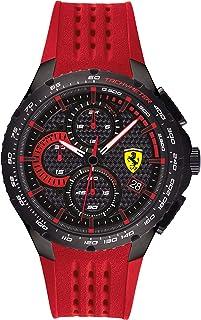 ساعة بسوار سيليكون احمر ومينا اسود للرجال من فيراري - 830727
