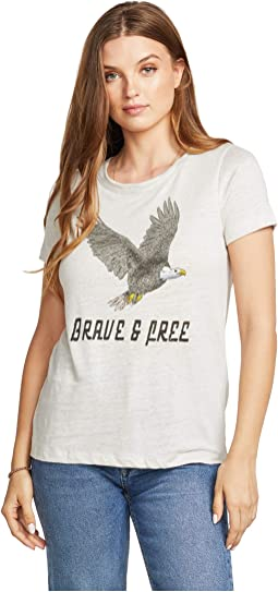 """""""Brave and Free"""" Linen Jersey Short Sleeve Crew Neck Tee"""