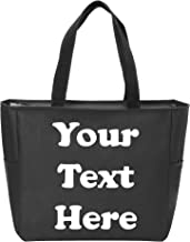 Custom Beach Bag Monogrammed Name 731 Monogram Tote Personalized Gray /& Multi Color Geometric Prism Print Small Zipper Top Utility Tote