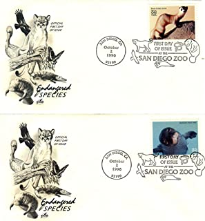 Lot #27 Set of 14 US First-Day Covers Scott # 3015: Endangered Species, Seal, Panther, Ferret, Caribou, More