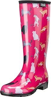 Stride by Sloggers Rain and Fashion Tall Boot with Comfort Insole, Crazy Cat print, Style 5519CATS11