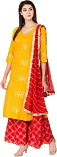 Ortange Women's Rayon Gold Print Kurta Palazzo With Printed Dupatta Set (Yellow)