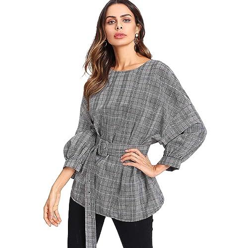 cd4c44f2812 Romwe Women's Elegant Plaid Lantern Sleeve Loose Blouse Top Shirt with Belt