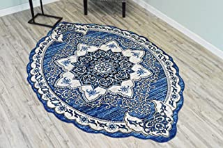 PlanetRugs Inc Twist Free Shape 3D Hand Carved Traditional Floral 5x8 5x7 Oval Rug Oriental 4737 Navy Blue
