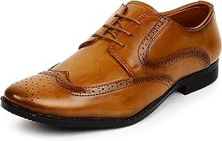 BUWCH Men Brown Oxford Derby Laceup Shoe-8UK