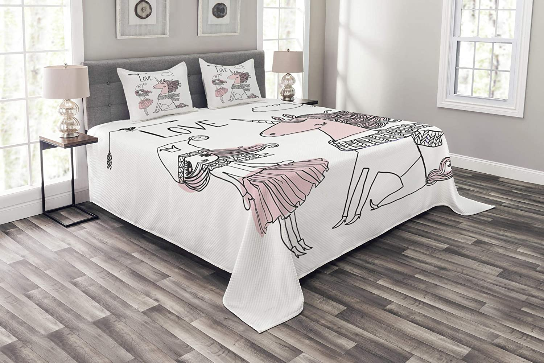 25% OFF Lunarable Nursery Bedspread Hand Drawn Girl Unicorn W Mesa Mall Scarf and