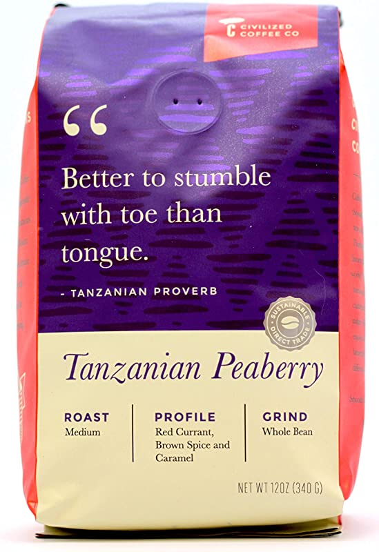 Tanzanian Peaberry Whole Bean Arabica Coffee Medium Roast Premium Gourmet Coffee 12oz Vented Bag