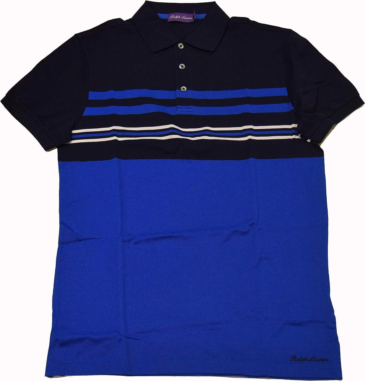 Ralph Lauren $395 Purple Label Mens Cotton Pique Striped Polo Shirt Navy Blue XL $395