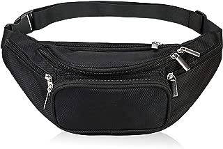 Fanny Pack 5-Zipper Pockets Nylon Waist Bag for Women Men Trainer for Yoga Gym Workout Sport and Travel Running