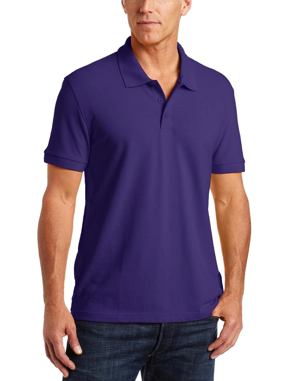 Classroom School Uniforms Men's Adult Unisex Short Sleeve Pique Polo, Purple, 3XL