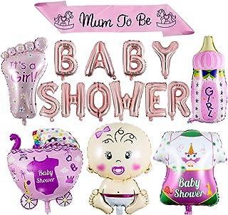 ZOEON Baby Shower Globos para Fiestas Infantiles, Globos de Papel de Aluminio It's a Boy/Girl con Faja Mum to Be (NIÑA)