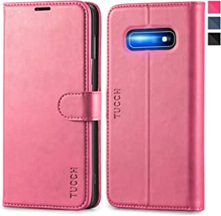 Galaxy S10e Case, TUCCH S10 Edge Wallet Case, PU Leather Phone Case [3 Card Slot] [Kickstand] Carry-All Case [RFID Blocking] [Flip Cover] Compatible with Galaxy S10e (2019 5.8 inch), Black Hot Pink