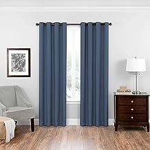 "Eclipse Bryson 52"" x 108"" Insulated Darkening Single Panel Grommet Top Window Treatment Living Room, Indigo"