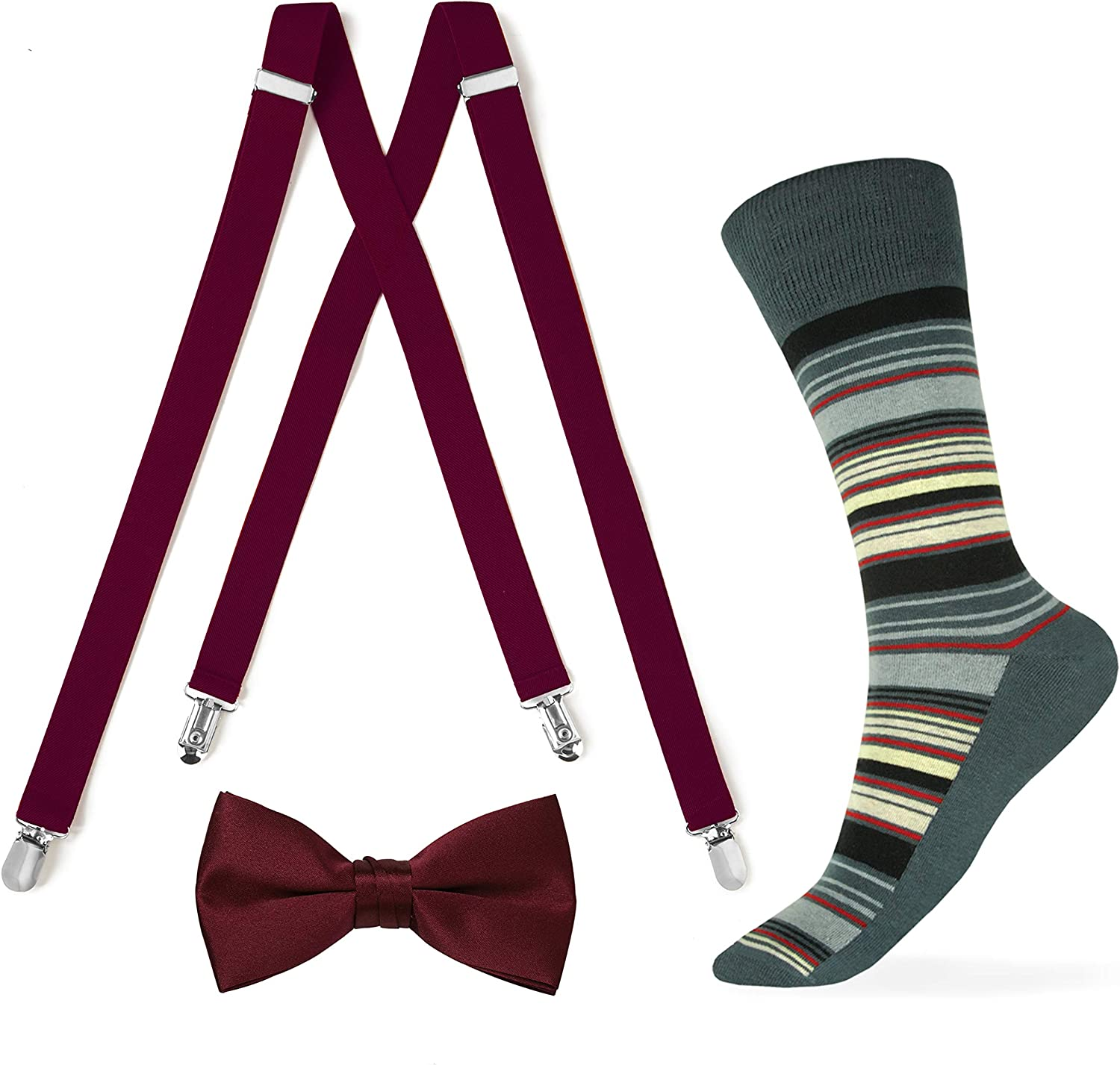 Burgundy Suspender and Bow tie with Striped Sock