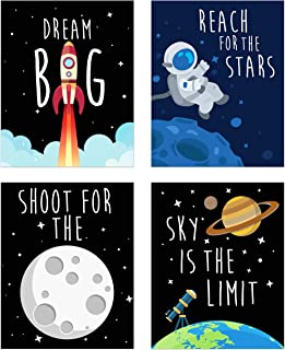 Space Kids Nursery Bedroom Decor - Set of Four 8x10 Prints - Cute Inspirational Wall Art Decoration for Boys and Girls