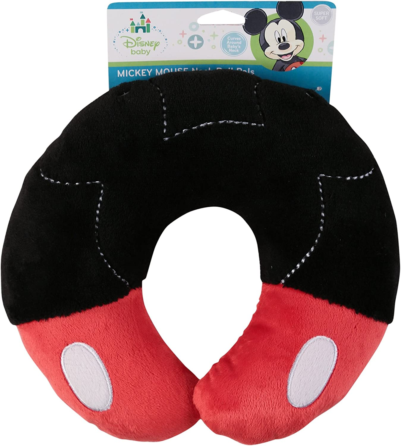 Disney Mickey Mouse Neck Roll Pals with Embroidery, Red Black