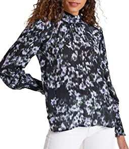 Mock Neck Smocked Cuff Top