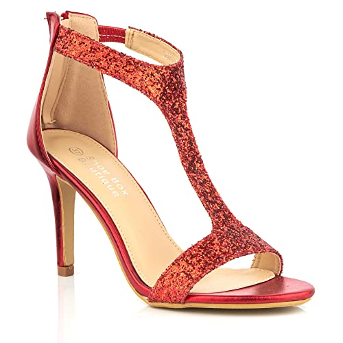 a1d0537ae5a 0116 New Ladies T-BAR Heel Shimmer Party Evening Prom Sandals Size 345678  (UK