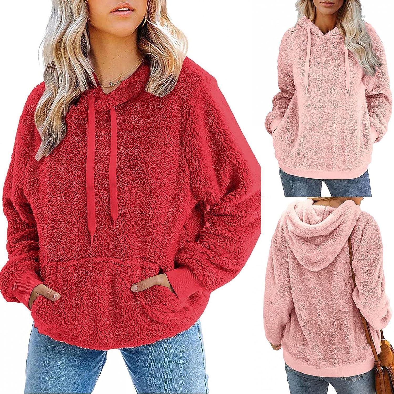 Women Fuzzy Fleece Coat, Women's Oversized Open Front Hooded Draped Pockets Cardigan Coat Fashion Long Sleeve Hoodies